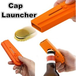 Wholesale Drinking Caps - Portable Flying Cap Beer Drink Bottle Opener Launcher Top Shooter Wine Opening Cap Kitchen Cooking Tool Keyring Key Chain Mayitr