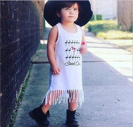 Wholesale Beach Girl T Shirt - 2017 Ins Cute Baby girl T shirt dress red-crowned crane Tassels Sleeveless dresses Summer Baby clothing 100%cotton