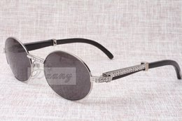 Wholesale Diamond Frame Sunglasses - high-end round diamond sunglasses 7550178 natural Black angle bending Best quality sunglasses men Female eyeglasses size: 57-22-135 mm