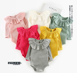 Wholesale Autumn Rompers - INS new arrivals baby kids climbing romper long sleeve ruffler pet pan collar screw thread multi color romper baby fall rompers 100% cotton