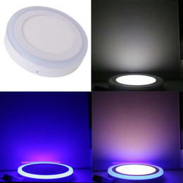 Wholesale Ceiling Lamp Color Glass - IN stock 6W 9W 16W 24W Blue+White Square Round Led Panel Light Surface Mounted leds Downlight color ceiling down 85-265V lampada led lamps