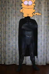 Wholesale Black Tight Jumpsuits - Super Hero Batman Cosplay Costume Halloween Tights Jumpsuit+Cape S-2XL