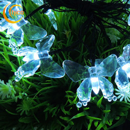 Wholesale Led Butterfly Tree - Solar string lights butterfly light string led christmas lights led solar lights 4.8M 20 LEDs Solar power outdoor waterproof For Garden