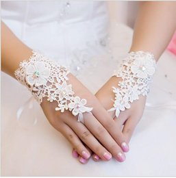 Wholesale Cheapest Beads Free Shipping - Cheapest Free Shipping 2017 New Style Rhinestone Lace Short Bride Gloves Wedding Gloves Fingerless White Ivory In Stock