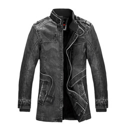 Wholesale Leather Jacket Mens Button Brown - Fashion Winter Jacket Men Slim Warm Mens washed Leather Motorcycle Biker Jackets Standing Collar Coat free shipping