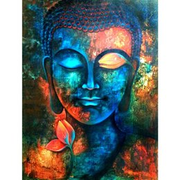 Wholesale buddha art painting - Buddha Colorful 100% Full Drill DIY Diamond Painting Embroidery 5D Needlework Cross Stitch Crystal Square Home Bedroom Wall Decor Craft Gift