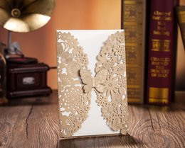 Wholesale Elegant Wedding Invitations Butterfly - Wholesale-DHL Fedex Free Shipping CW5009 Elegant Laser Cut Butterfly Wedding Invitation Card 100 PCS