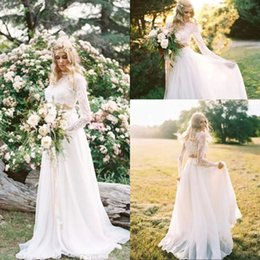 Wholesale Ivory Lace Wholesale Wedding Gowns - 2017 New Romantic Two Pieces Bohemian Wedding Dresses Long Sleeves Lace Crop Top Chiffon Beach Country Wedding Gowns