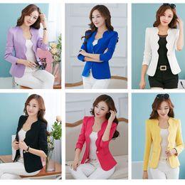 Wholesale Chiffon Blazers - New Fashion 2017 Spring autumn Women Suit Jacket Coat Solid color slim OL ladies work wear blazer women's suit