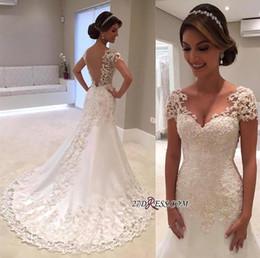 Wholesale Plus Size Silver Sparkle Dress - Sparkle Elegant Short Sleeves Wedding Dresses 2017 Lace Appliqued Sequins Mermaid Bridal Gowns Illusion Back Vintage Beach Wedding Gowns