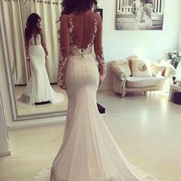 Wholesale ba gold - Sexy Backless Sheer Long Sleeves Mermaid Wedding Dresses 2017 Illusion Bodices Lace Appliqued Bridal Gowns Chiffon Train Vestido De Novia BA
