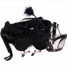 Wholesale Sex Mouth Cuffs - Sex 7-in-1 BDSM Gear Sex Bondage Restraint Kit PU Slave Wrist Ankle Cuffs Collar Whip Rope Blindfold Mouth Ball Gag Toys 3105003