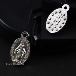 Wholesale Mary Heart - Wholesale-8*14mm Catholic religious Gifts Virgin Mary Sacred Hearts The Miraculous Medal holy Medal love heart zinc alloy Charm Pendant