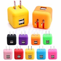 Wholesale Cute Cell Phone Plugs - NEW Travel Wall Charger Dual USB Port 2.1A Cute design Home Charging Adapter US Plug For Cell Phone for iphone 7Plus samsung S6 random color