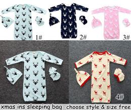 Wholesale Girls Pattern - INS Xmas Infant Baby Deer Romper 3PC Set Long Sleeve Deerlet Cotton Boys Girls Infant Pajamas Sleepwear Sleepsuit Jumpsuit Baby Sleeping Bag