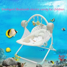 Wholesale Electric Rocking Baby Chair - 2017 new Europe electric rocking baby electric swing baby chair luxury multifunctional high-grade rock chair blue free shipping