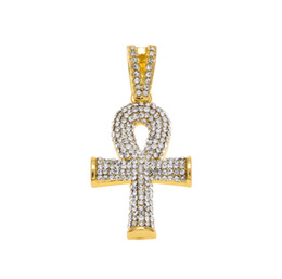 mens silver cuban link chain Promo Codes - Hip Hop Gold Silver Mens Full Iced Out Crystal Egyptian Ankh Key of Life Cross Pendant Necklace With 24inch Cuban Chain
