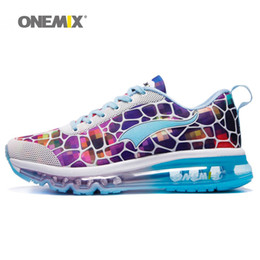 Wholesale colorful sneakers for women - ONEMIX Woman Running Shoes For Women Air Cushion Damping Athletic Trainers Sports Racing Shoe Colorful Fashion Outdoor Walking Sneakers 2018
