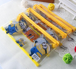 Wholesale Minions Gift Box - 2016 New Arrival Pencil pouch pen bag cartoon pencil case minion students pen boxes kids Princess Christmas gift free sipping