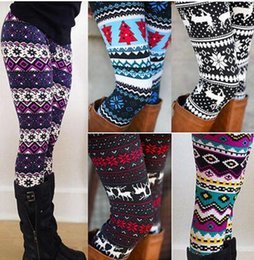 Wholesale Low Waist Cotton Leggings - 20 colors High Quality Comfortable Women girl casual Winter Christmas Snowflake Knitted Elastic printed Leggings Fitness Cotton Pants