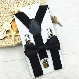 Wholesale Boy Bow Tie Belt - Wholesale- Fashion Suspenders Boys Girls Black Adjustable Elastic Clip On Clothing Accessories Suspenders Belt Bow Tie Set Children Gifts