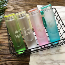Wholesale Cups Cover Glass - 4 Colors Creative Gradient Dull Polish Water Bottle Transparent With Cup Cover 480ml Glass Bottle Portable Outdoor Bottle CCA6105 50pcs