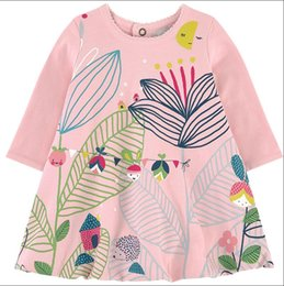 Wholesale Winter Holidays - Everweekend Girls Leaves Print Ruffles Dress Sweet Baby Pink Color Clothes Princess Spring Autumn Holiday Cotton Clothing