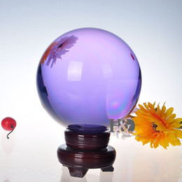 Wholesale Huge Draw - 200mm Huge Asian Quartz Purple Magic Crystal Cut Healing Ball Sphere +Wood Stand