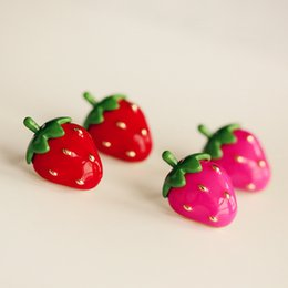 Wholesale Cute Pink Stud Earrings - 3D Cute Red Pink Strawberry Earrings Studs for girls and woman Sweet Fruit Gold Plated ER722