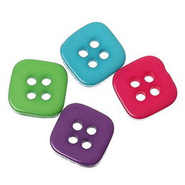 Wholesale Square Buttons Sewing - Kimter Random Mixed Square Resin Sewing Buttons With 4 Holes Buttons 11x11mm For DIY Clothes Skirts Hats Shirts Pack Of 200pcs I622L