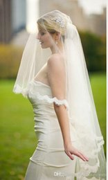 Wholesale Diamond White Bridal Veils - Arrival Diamond 2017 New Veil Lace Appliques Edge Wedding Veil Bridal Accessories With Comb voile mariage