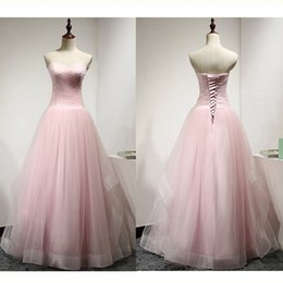 Wholesale Long Rayon Dress - 2017 Pink Sweetheart Long Prom Dresses A-Line Lace Up Floor Length With Pleats Tulle Real Photos Simple Evening Gowns Vestido De Festa