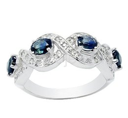 Wholesale Blue Sapphire Ring 925 Silver - Natural real blue sapphire ring 925 sterling silver rings Free shipping Gemstone rings For men or women 0.35ct*4pcs gem DH#17031605