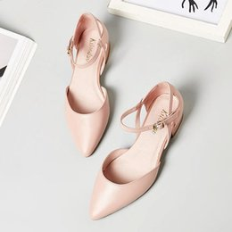 Wholesale Small Yards Sandals - Women's high heels fashion pointed Baotou hollow flat sandals ladies summer flat with 2017 new 32 small yards 33 leather