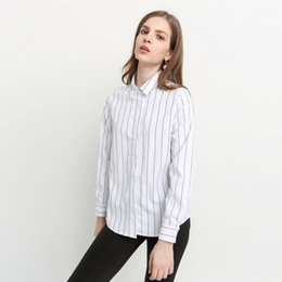 Wholesale Color Block Blouses - Color Block Striped Basic Tops Women Long Sleeve Female Pullover Tops Casual Turn-down Collar Blouses Shirts