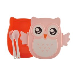Wholesale Blue Microwave Oven - 2 Layer Cartoon Owl Lunchbox Bento Lunch Box Food Fruit Storage Container Plastic Lunch box microwave oven lunchbox tableware Easy-Open