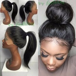 Wholesale Synthetic Lace Front Baby Hair - Fast Shipping 16-26inch Long Natural Black Silk Straight Hair Wigs Glueless Heat Resistant Synthetic Lace Front Wig With Baby Hair For Women