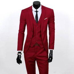 2019 calças de baile formal Homens 3 Peça Ternos Set Jaqueta + Calça + Vest Traje Da Marca Roupas Formais Vestido de Casamento Terno Para Homme Noivo Negócio Tuxedos frete grátis calças de baile formal barato