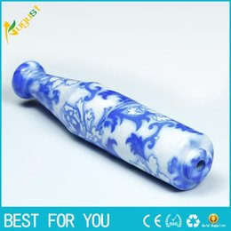 Wholesale Porcelain Pipes - METTLE selling ceramic pipe 78mm personality blue and white porcelain smoking pipe 4103-1