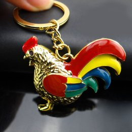 Wholesale Chicken Pendants - Enamel Silver Gold Plated Chicken Rooster Cock Key Chain Key Ring For Women Girls Bag Pendant Keychains Jewelry