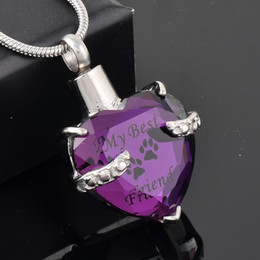 Wholesale Pendant Steel Jewelry - MJD9790 Purple crystal Heart Cremation URN Necklace Jewelry Memorial Keepsake Pendant My BEST Friend Pet Necklace
