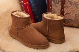Wholesale European Buckle Boots - European and American fashion Cheap China Brand Cute Furry Black Blue Boots Faux Fur Leather Suede Australia Winter Snow Boots Shoe