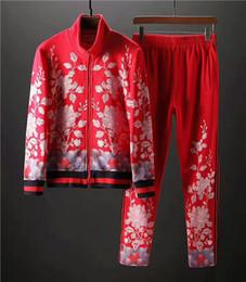 Wholesale Men S Luxury Suits - The new High end men 's silk embroidered flowers sweatshirt Men's luxury Cotton suit Tracksuits