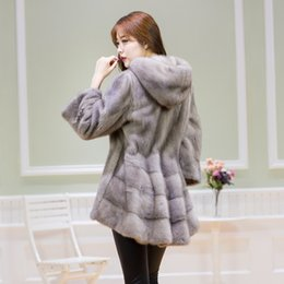 Wholesale Ladies Real Mink Jacket - 2017 New Fashion Elegant Women Genuine Mink Fur Jacket Women Real Mink Coat With Hood Lady Fur Outerwear