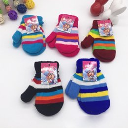 Wholesale 2017 New Colorful Stripe Mittens Kids Size Knitted Gloves Winter Warm Gloves For Boys And Girls With Hanging Rope Cheap Price