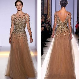 Wholesale Evening Dress Pagent - Elie Saab Long Sleeve Evening Dresses Bateau Illusion Sheer Neck Emiper Waist with Gold Bead Champagne Pagent Dresses