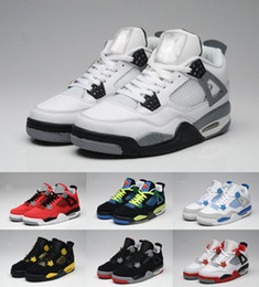 Wholesale Cuttings Box - Top Quality Retro 4 Men Basketball Shoes 4s White Cement Toro Bravo 4s Superman Bred Thunder Sports Shoes With Box