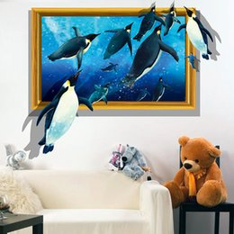 Wholesale Elephant 3d Stickers - PVC 3D Visual Effects Shark Wall Art Stickers Decor penguins sharks dolphins elephants Creative 3D Stickers Wall Sticker Living Room Bedroom