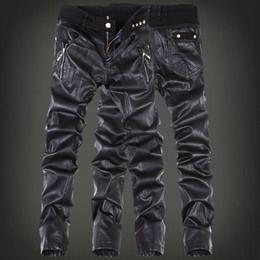Argentina Al por mayor- Moda coreana cool Mens pantalones de cuero de roca negro falso apretado flaco más el tamaño 30 31 32 33 34 36 pantalones punk cheap plus size tight black trousers Suministro
