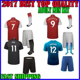 Wholesale Cotton Football Socks - 17 18 Lacazette soccer jersey men kit + socks home AWAY 2017 2018 ALEXIS THIRD sanchez GIROUD OZIL Walcott third adult sets football shirts